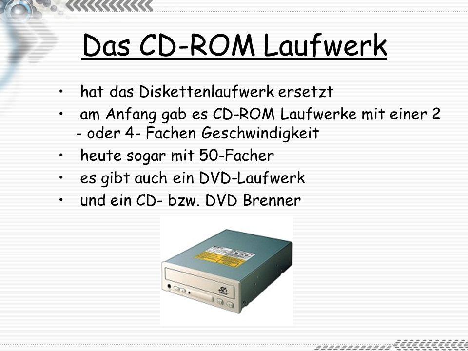 Die Festplatte werden alle Daten gespeichert beinhaltet das Betriebssystem heutige Rechner haben 200 GB je nach Anschlussart unterscheidet man zwischen IDE– und SCSI- Festplatten die meisten Rechner haben IDE- Festplatten