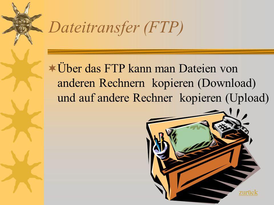Dateitransfer (FTP) ÜÜber das FTP kann man Dateien von anderen Rechnern kopieren (Download) und auf andere Rechner kopieren (Upload) zurück