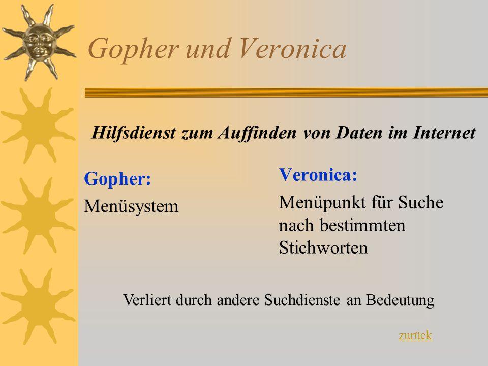 Gopher und Veronica Gopher: Menüsystem Veronica: Menüpunkt für Suche nach bestimmten Stichworten Hilfsdienst zum Auffinden von Daten im Internet Verli