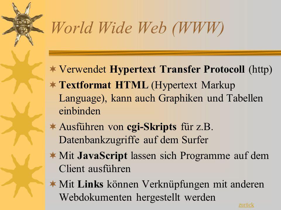 World Wide Web (WWW) VVerwendet Hypertext Transfer Protocoll (http) TTextformat HTML (Hypertext Markup Language), kann auch Graphiken und Tabellen