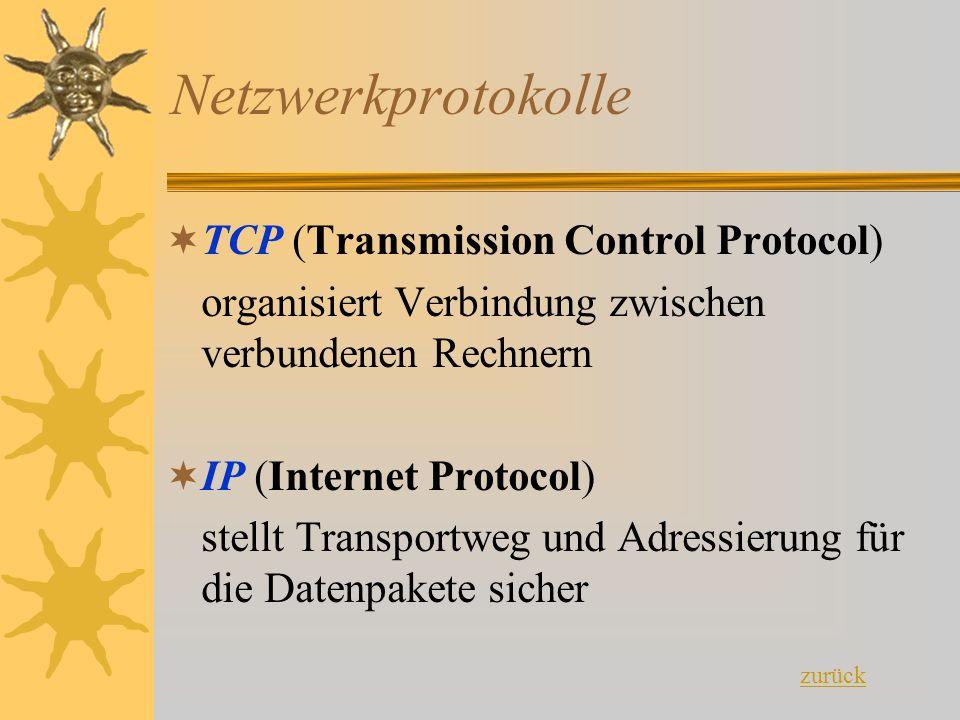 Netzwerkprotokolle TTCP (Transmission Control Protocol) organisiert Verbindung zwischen verbundenen Rechnern IIP (Internet Protocol) stellt Transp