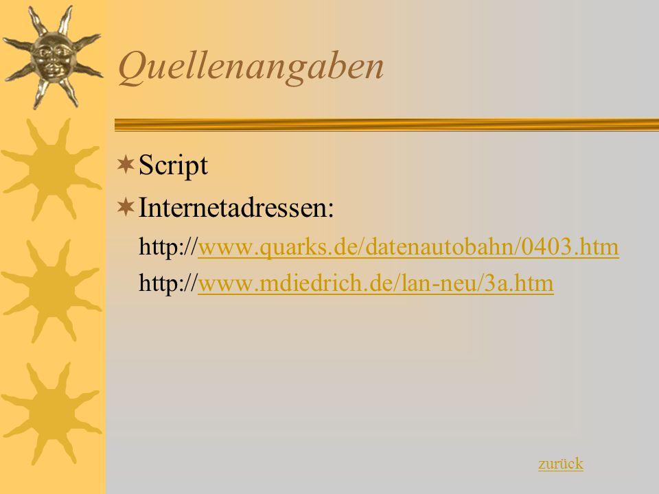 Quellenangaben  Script  Internetadressen: http://www.quarks.de/datenautobahn/0403.htmwww.quarks.de/datenautobahn/0403.htm http://www.mdiedrich.de/la