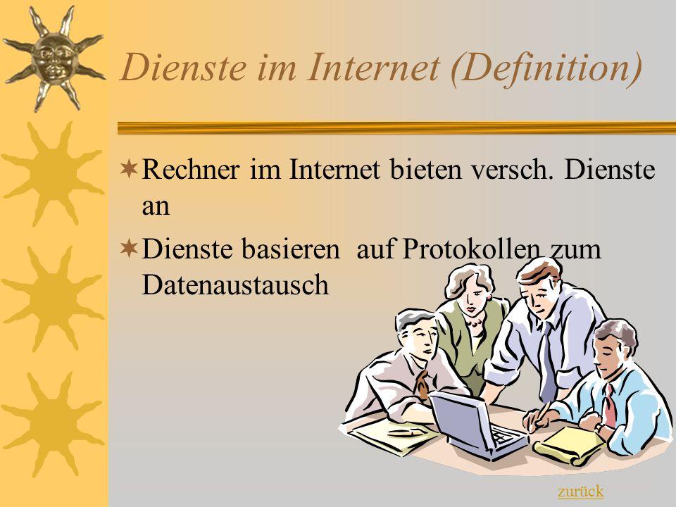 Dienste im Internet (Definition)  Rechner im Internet bieten versch. Dienste an  Dienste basieren auf Protokollen zum Datenaustausch zurück