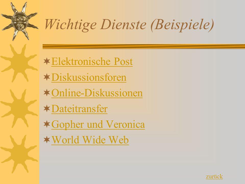 Wichtige Dienste (Beispiele)  Elektronische Post Elektronische Post  Diskussionsforen Diskussionsforen  Online-Diskussionen Online-Diskussionen  D