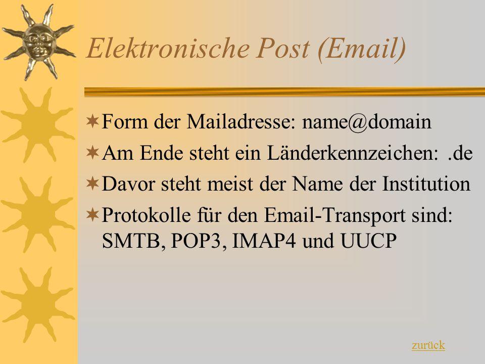 Elektronische Post (Email) FForm der Mailadresse: name@domain AAm Ende steht ein Länderkennzeichen:.de DDavor steht meist der Name der Instituti
