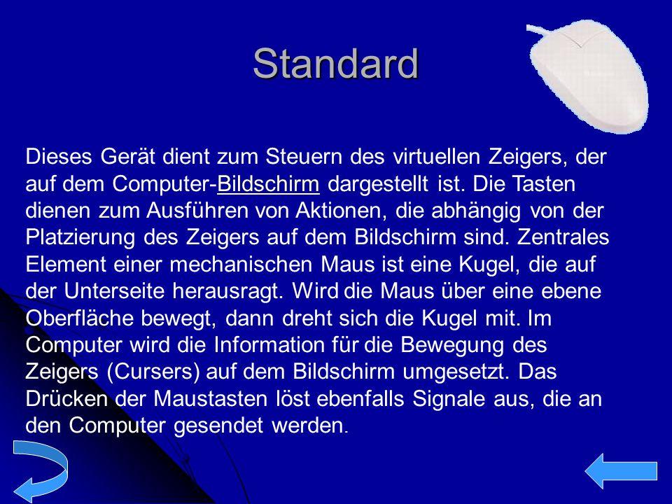 Standard Dieses Gerät dient zum Steuern des virtuellen Zeigers, der auf dem Computer-Bildschirm dargestellt ist. Die Tasten dienen zum Ausführen von A