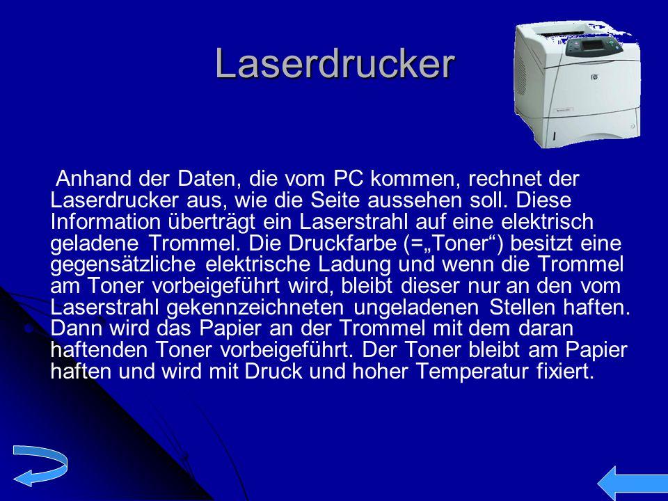Laserdrucker Anhand der Daten, die vom PC kommen, rechnet der Laserdrucker aus, wie die Seite aussehen soll. Diese Information überträgt ein Laserstra
