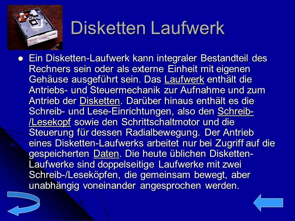 Disketten Laufwerk Ein Disketten-Laufwerk kann integraler Bestandteil des Rechners sein oder als externe Einheit mit eigenen Gehäuse ausgeführt sein.