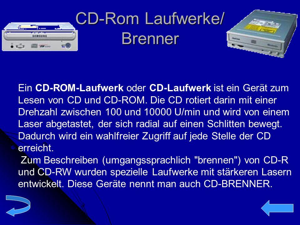 CD-Rom Laufwerke/ Brenner Ein CD-ROM-Laufwerk oder CD-Laufwerk ist ein Gerät zum Lesen von CD und CD-ROM. Die CD rotiert darin mit einer Drehzahl zwis