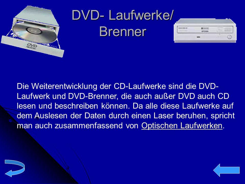 DVD- Laufwerke/ Brenner Die Weiterentwicklung der CD-Laufwerke sind die DVD- Laufwerk und DVD-Brenner, die auch außer DVD auch CD lesen und beschreibe