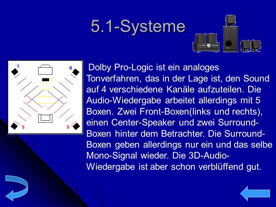5.1-Systeme Dolby Pro-Logic ist ein analoges Tonverfahren, das in der Lage ist, den Sound auf 4 verschiedene Kanäle aufzuteilen. Die Audio-Wiedergabe