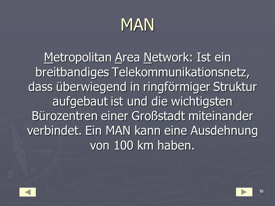 9 WAN Wide Area Network:Ist ein Computernetz über einen sehr große geographischen Bereich. WANs erstrecken sich über Kontinente und Länder. Werden ben