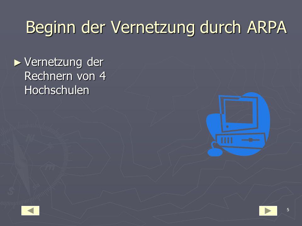 5 Beginn der Vernetzung durch ARPA Beginn der Vernetzung durch ARPA ► Vernetzung der Rechnern von 4 Hochschulen