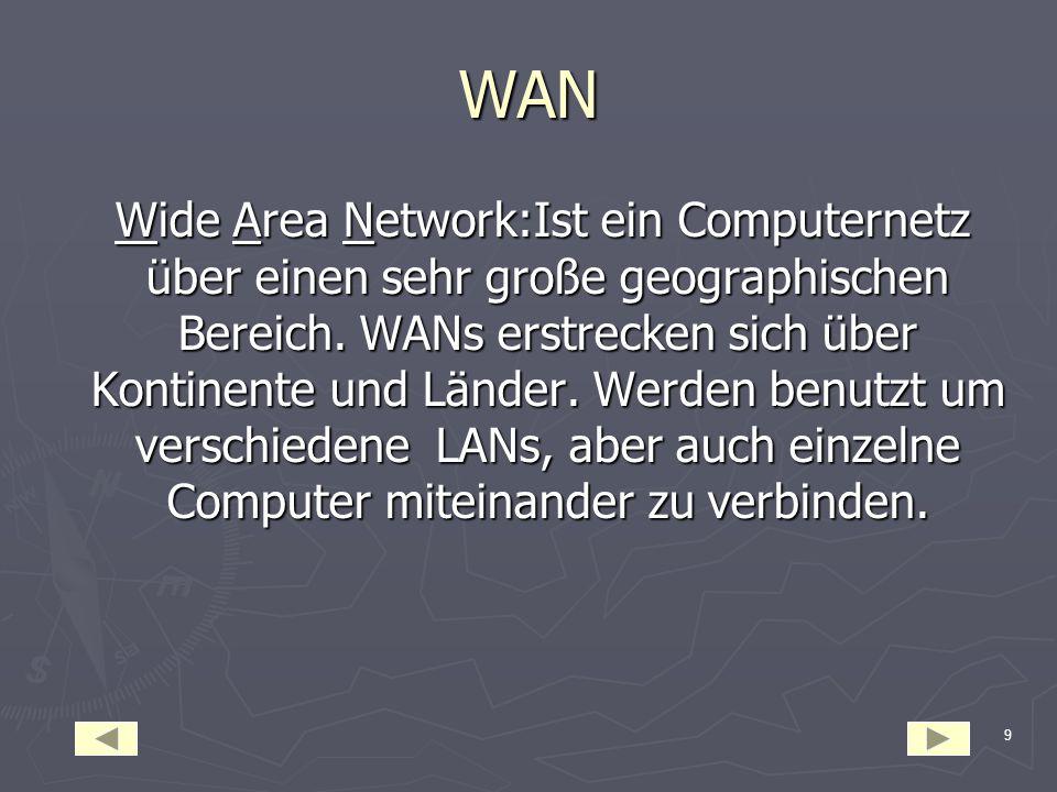 9 WAN Wide Area Network:Ist ein Computernetz über einen sehr große geographischen Bereich.