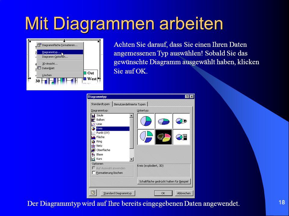 17 Mit Diagrammen arbeiten Um Diagramme auf einer Folie aufzunehmen, wählen Sie bei dem AutoLayout z.B.