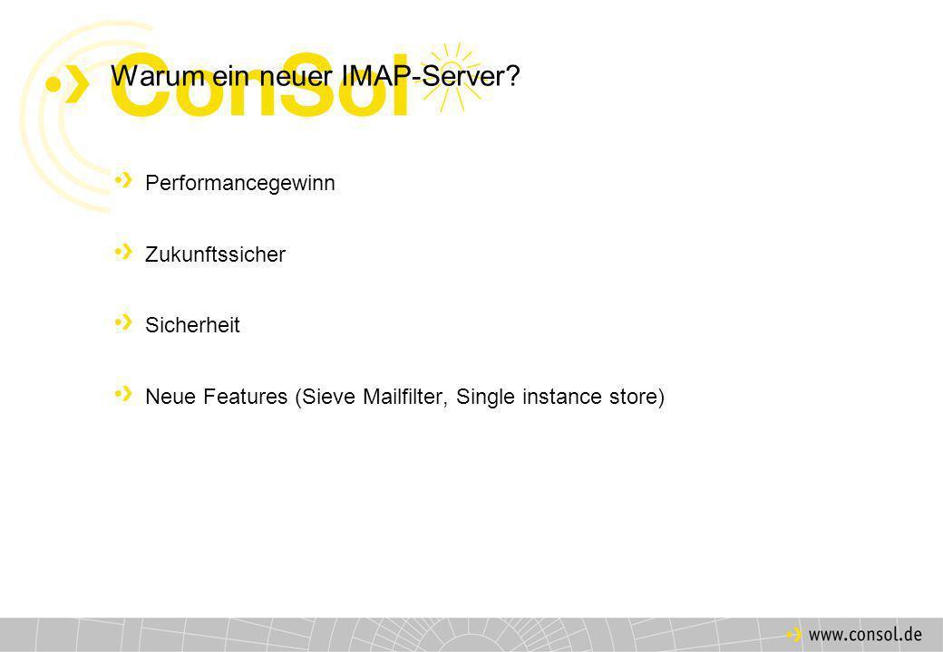 Technischer Hintergrund Client Internet Cyrus-imapd Sieve Mailbox Sendmail SMTP Mail-/IMAP- Server SMTP IMAP LMTP Client
