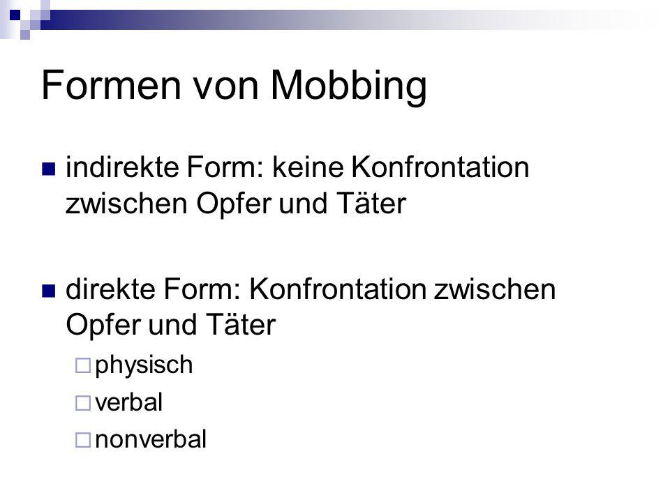 Formen von Mobbing indirekte Form: keine Konfrontation zwischen Opfer und Täter direkte Form: Konfrontation zwischen Opfer und Täter  physisch  verb
