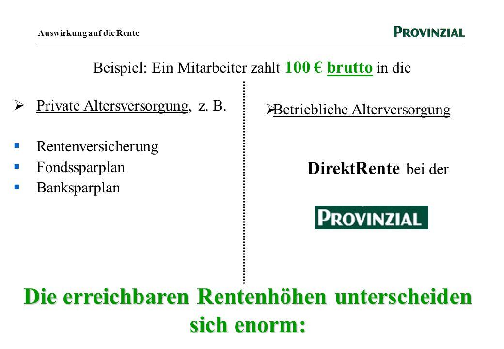 Auswirkung auf die Rente  Private Altersversorgung, z. B.  Rentenversicherung  Fondssparplan  Banksparplan Beispiel: Ein Mitarbeiter zahlt 100 € b