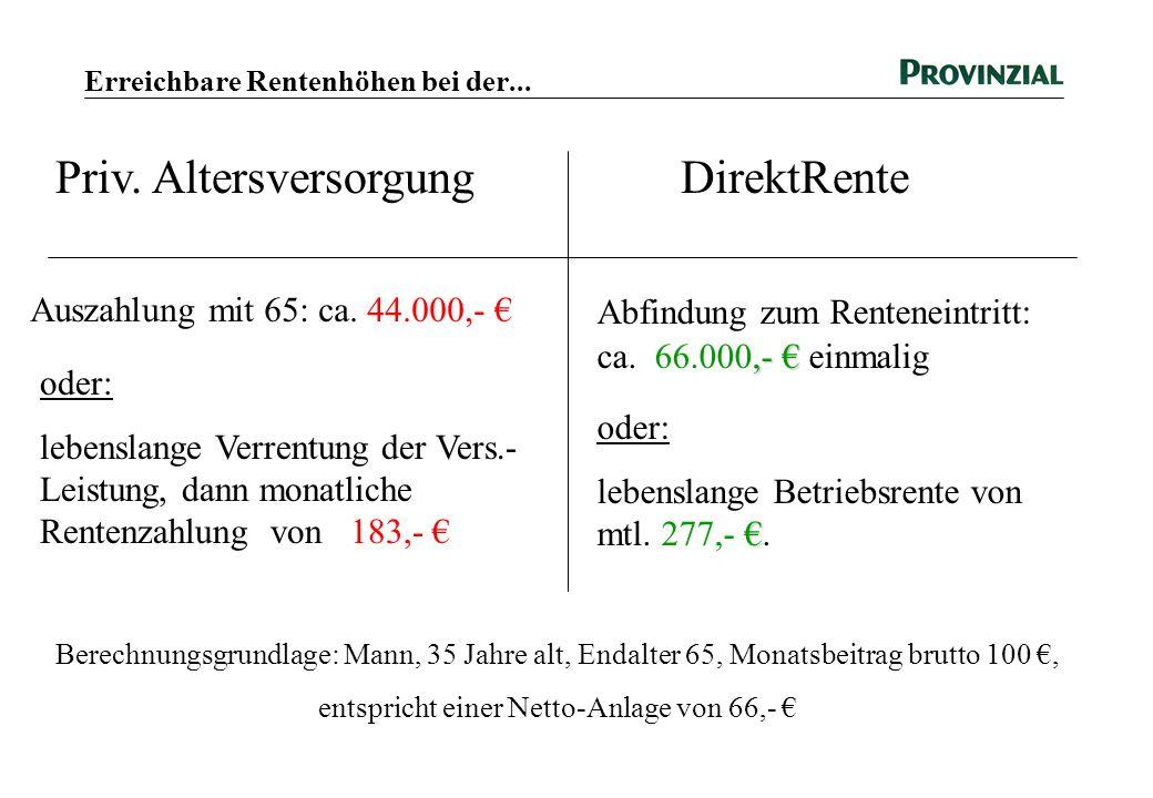 Erreichbare Rentenhöhen bei der... Auszahlung mit 65: ca. 44.000,- € oder: lebenslange Verrentung der Vers.- Leistung, dann monatliche Rentenzahlung v