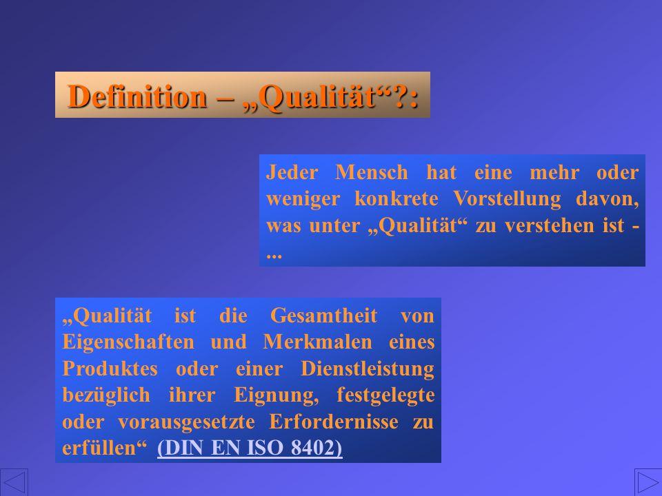 """Definition – """"Qualität""""?: Jeder Mensch hat eine mehr oder weniger konkrete Vorstellung davon, was unter """"Qualität"""" zu verstehen ist -... """"Qualität ist"""