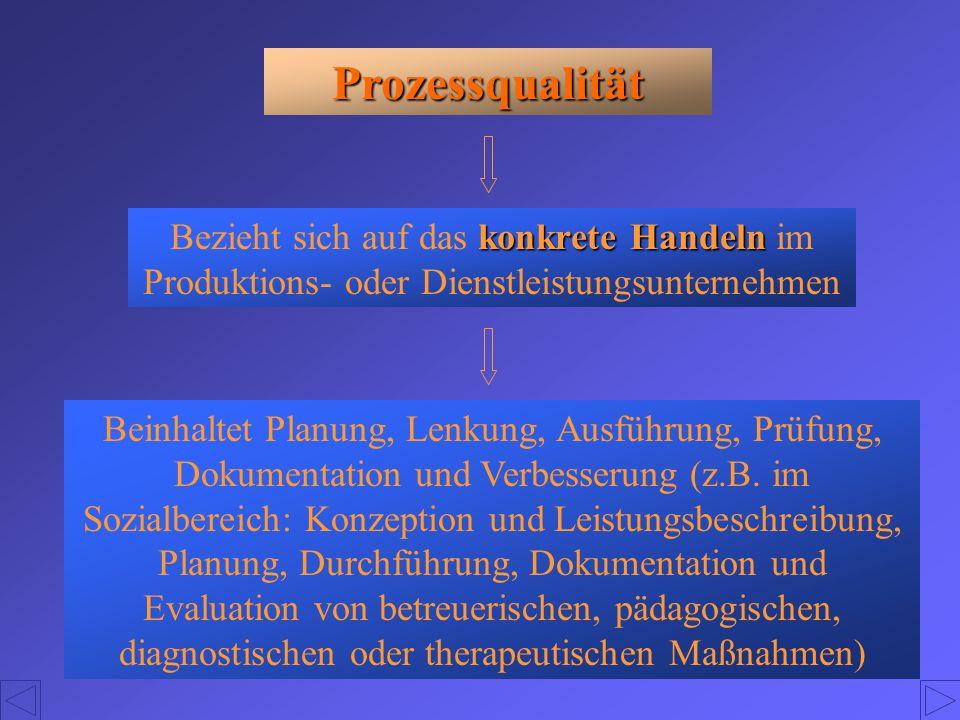 Prozessqualität konkrete Handeln Bezieht sich auf das konkrete Handeln im Produktions- oder Dienstleistungsunternehmen Beinhaltet Planung, Lenkung, Au