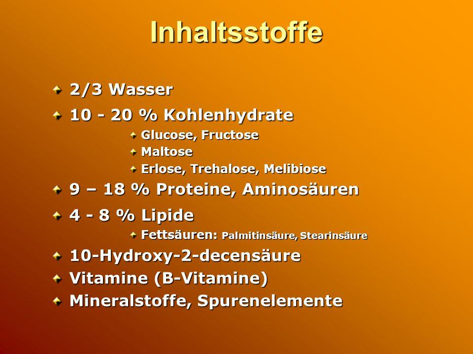 Inhaltsstoffe 2/3 Wasser 10 - 20 % Kohlenhydrate Glucose, Fructose Maltose Erlose, Trehalose, Melibiose 9 – 18 % Proteine, Aminosäuren 4 - 8 % Lipide Fettsäuren: Palmitinsäure, Stearinsäure 10-Hydroxy-2-decensäure Vitamine (B-Vitamine) Mineralstoffe, Spurenelemente