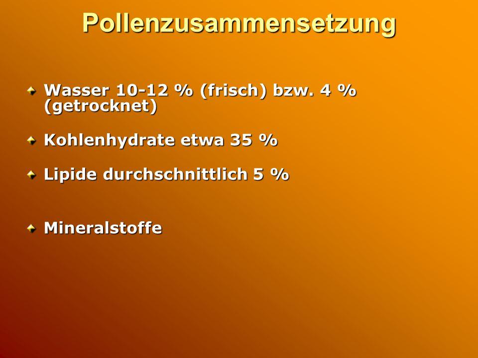 Pollenzusammensetzung Wasser 10-12 % (frisch) bzw. 4 % (getrocknet) Kohlenhydrate etwa 35 % Lipide durchschnittlich 5 % Mineralstoffe