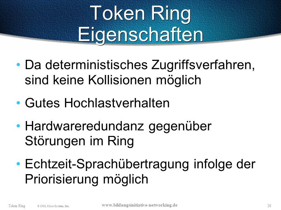26Token Ring © 2001, Cisco Systems, Inc.
