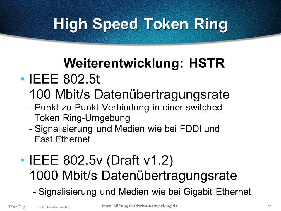 27Token Ring © 2001, Cisco Systems, Inc.