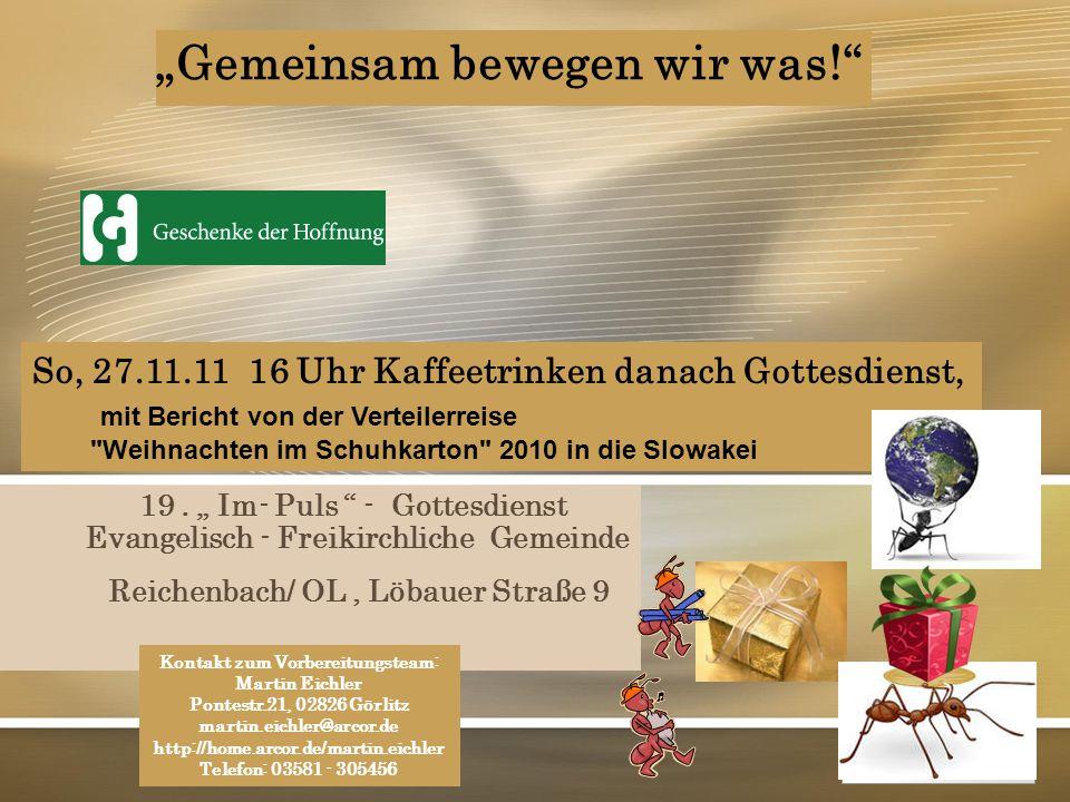"""YOUR LOGO Page  1 """"Gemeinsam bewegen wir was!"""" 19. """" Im- Puls """" - Gottesdienst Evangelisch - Freikirchliche Gemeinde Reichenbach/ OL, Löbauer Straße"""
