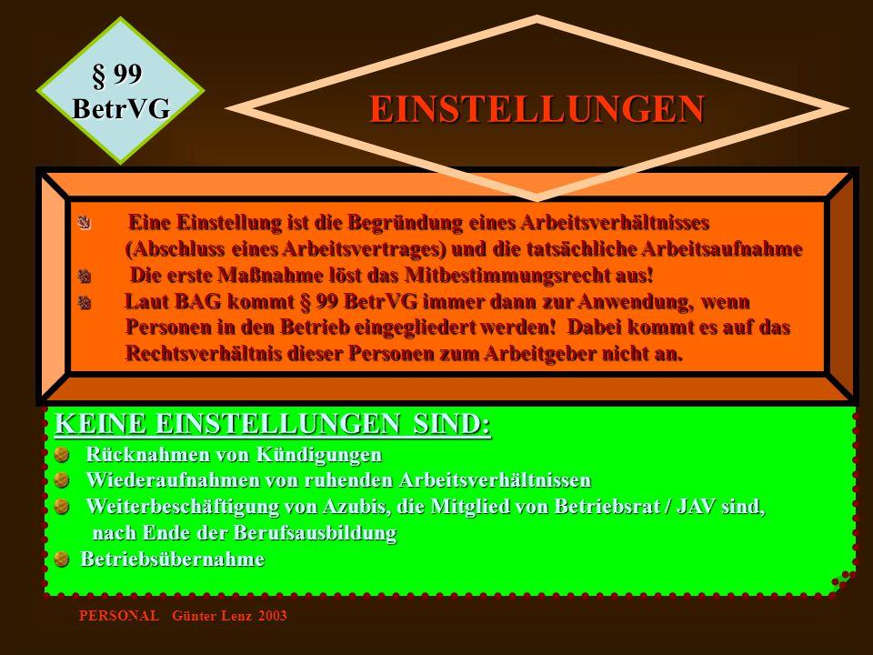 PERSONAL Günter Lenz 2003 KEINE EINSTELLUNGEN SIND: Rücknahmen von Kündigungen Rücknahmen von Kündigungen Wiederaufnahmen von ruhenden Arbeitsverhältn