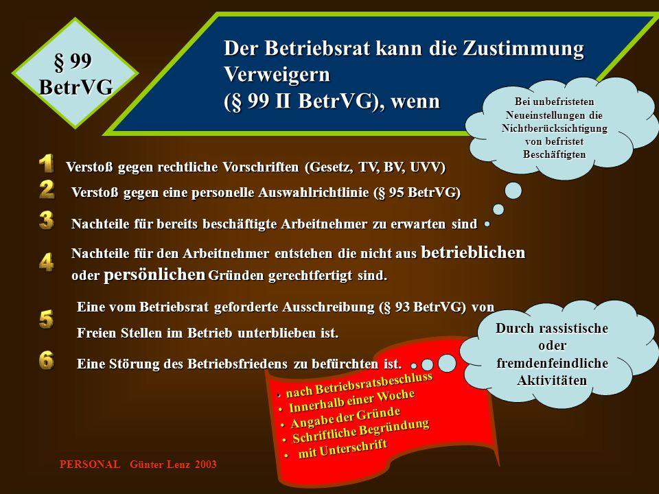 PERSONAL Günter Lenz 2003 nach Betriebsratsbeschluss nach Betriebsratsbeschluss Innerhalb einer Woche Innerhalb einer Woche Angabe der Gründe Angabe d