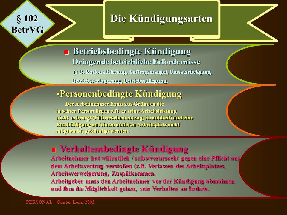 PERSONAL Günter Lenz 2003 § 102 BetrVG Die Kündigungsarten Betriebsbedingte Kündigung Betriebsbedingte Kündigung Dringende betriebliche Erfordernisse