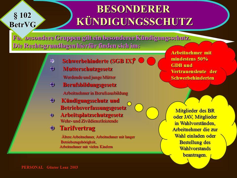 PERSONAL Günter Lenz 2003 Schwerbehinderte (SGB IX) Schwerbehinderte (SGB IX) Mutterschutzgesetz Mutterschutzgesetz Werdende und junge Mütter Werdende