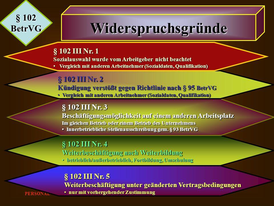 PERSONAL Günter Lenz 2003 § 102 BetrVG Widerspruchsgründe § 102 III Nr. 1 Sozialauswahl wurde vom Arbeitgeber nicht beachtet Vergleich mit anderen Arb