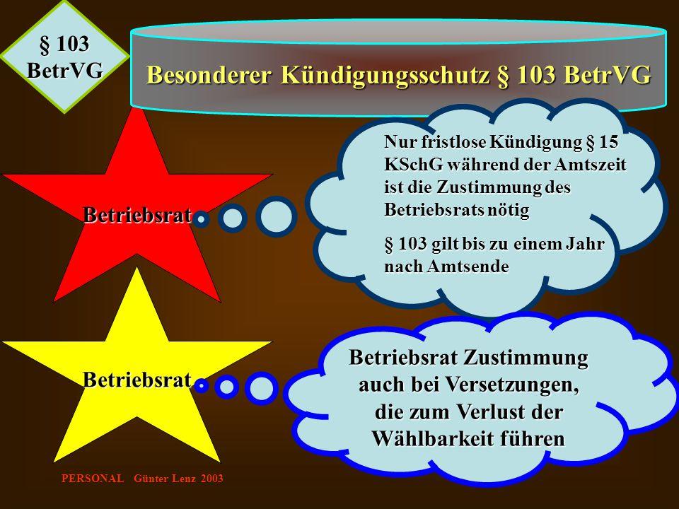 PERSONAL Günter Lenz 2003 Betriebsrat § 103 BetrVG Besonderer Kündigungsschutz § 103 BetrVG Betriebsrat Nur fristlose Kündigung § 15 KSchG während der