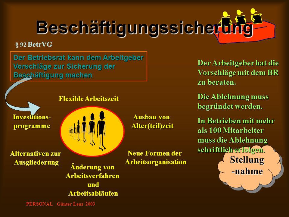 PERSONAL Günter Lenz 2003 Stellung -nahme Beschäftigungssicherung § 92 BetrVG Der Betriebsrat kann dem Arbeitgeber Vorschläge zur Sicherung der Beschä