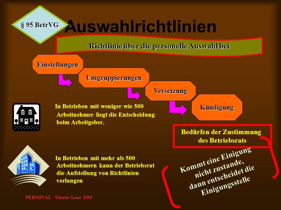 PERSONAL Günter Lenz 2003 Auswahlrichtlinien In Betrieben mit weniger wie 500 Arbeitnehmer liegt die Entscheidung beim Arbeitgeber. In Betrieben mit m