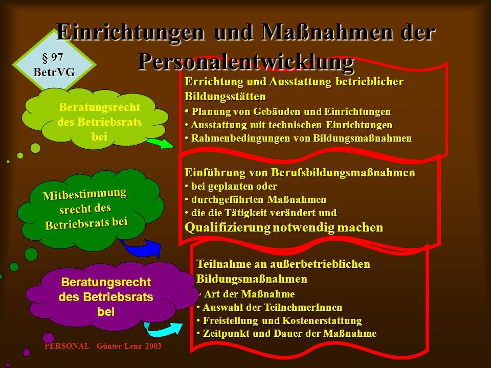 PERSONAL Günter Lenz 2003 Teilnahme an außerbetrieblichen Bildungsmaßnahmen Art der Maßnahme Art der Maßnahme Auswahl der TeilnehmerInnen Auswahl der