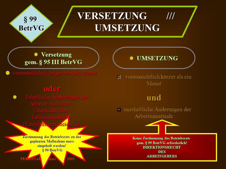 PERSONAL Günter Lenz 2003 Zustimmung des Betriebsrats zu der geplanten Maßnahme muss eingeholt werden! § 99 BetrVG § 99 BetrVG VERSETZUNG /// UMSETZUN