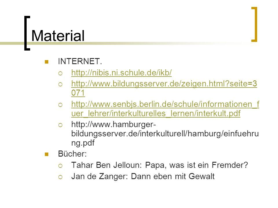Material INTERNET.  http://nibis.ni.schule.de/ikb/ http://nibis.ni.schule.de/ikb/  http://www.bildungsserver.de/zeigen.html?seite=3 071 http://www.b