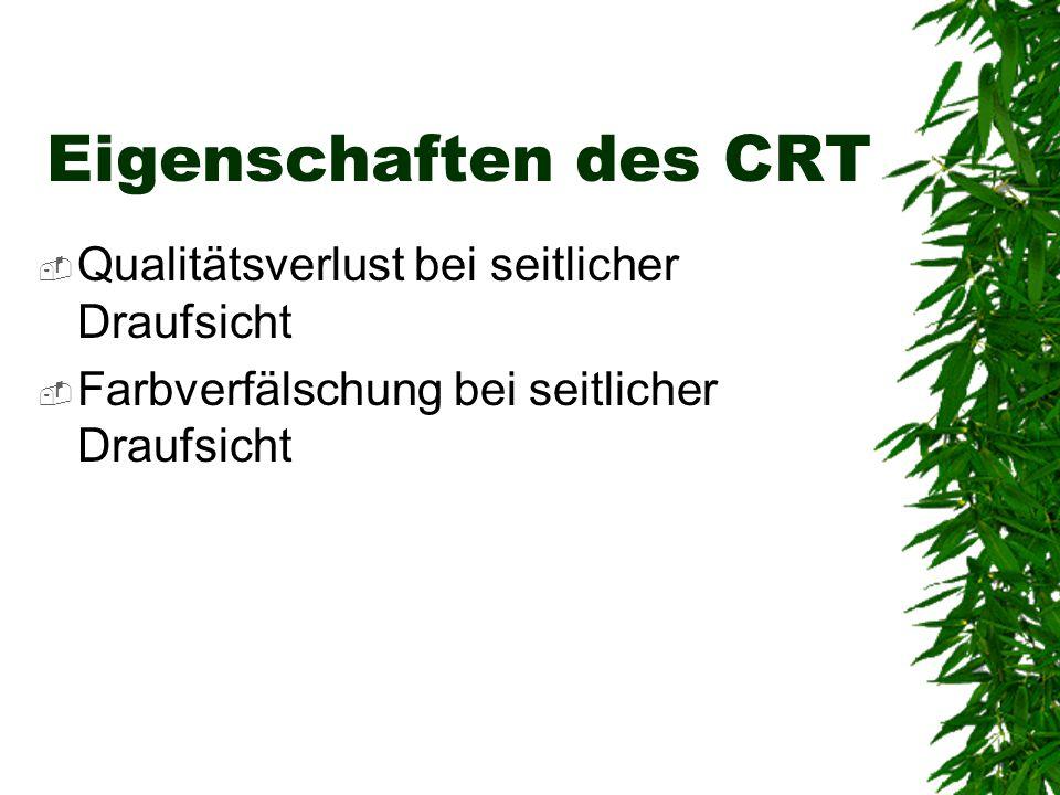 Eigenschaften des CRT  Qualitätsverlust bei seitlicher Draufsicht  Farbverfälschung bei seitlicher Draufsicht