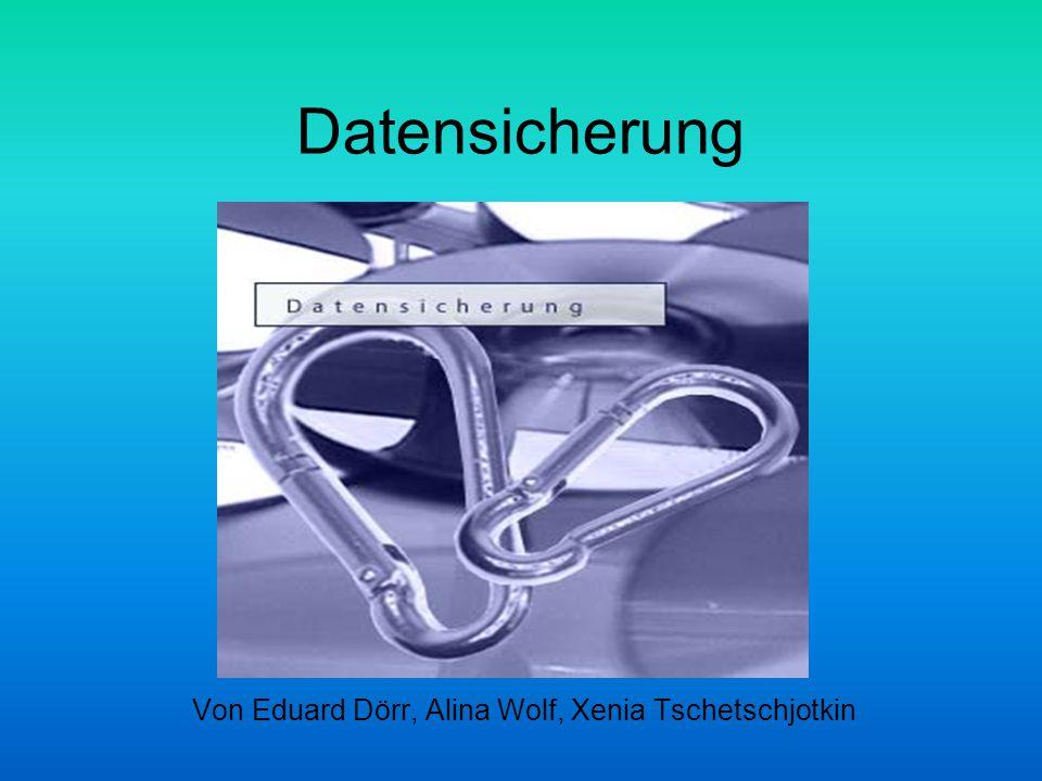 Datensicherung Von Eduard Dörr, Alina Wolf, Xenia Tschetschjotkin