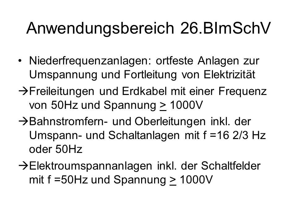 Anwendungsbereich 26.BImSchV Niederfrequenzanlagen: ortfeste Anlagen zur Umspannung und Fortleitung von Elektrizität  Freileitungen und Erdkabel mit