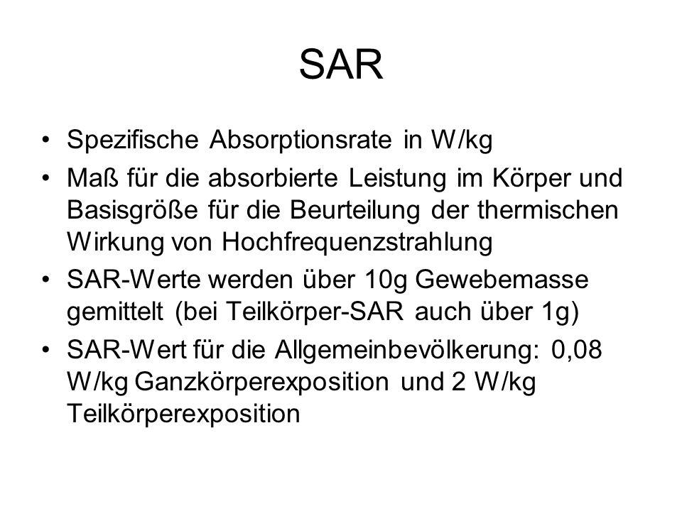 SAR Spezifische Absorptionsrate in W/kg Maß für die absorbierte Leistung im Körper und Basisgröße für die Beurteilung der thermischen Wirkung von Hoch