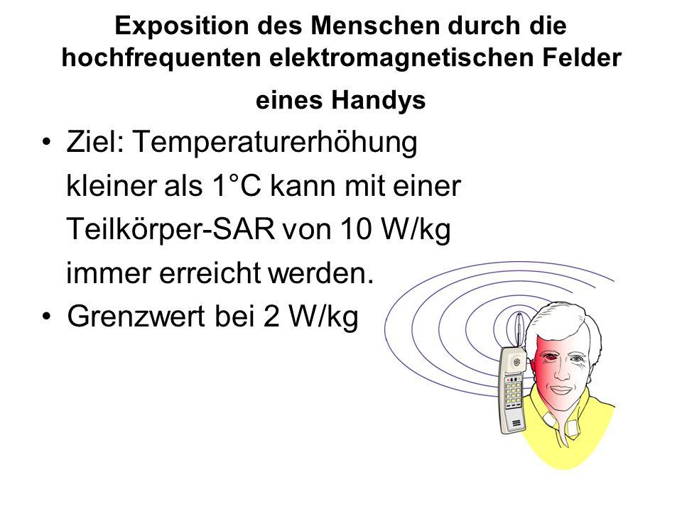 Exposition des Menschen durch die hochfrequenten elektromagnetischen Felder eines Handys Ziel: Temperaturerhöhung kleiner als 1°C kann mit einer Teilk