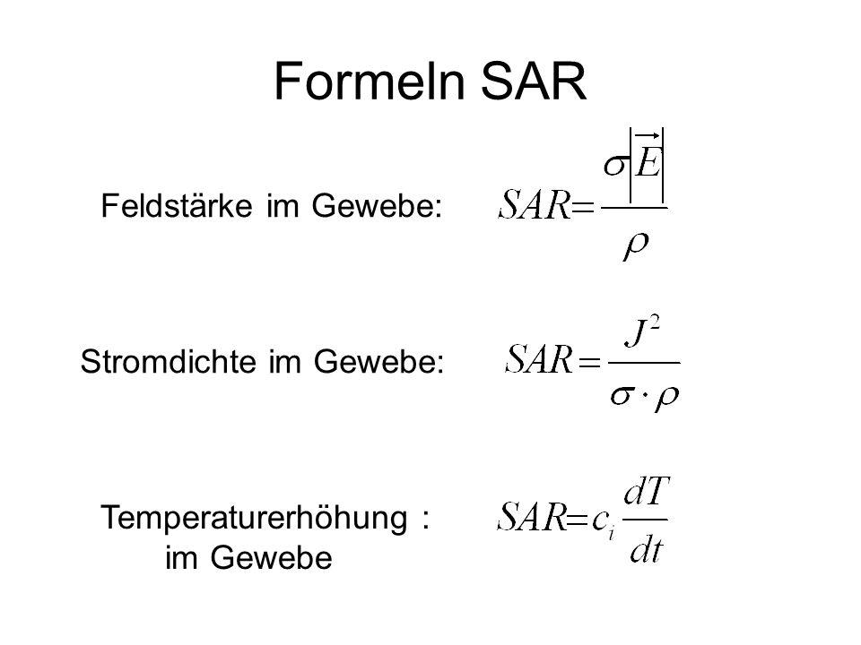 Formeln SAR Feldstärke im Gewebe: Stromdichte im Gewebe: Temperaturerhöhung : im Gewebe