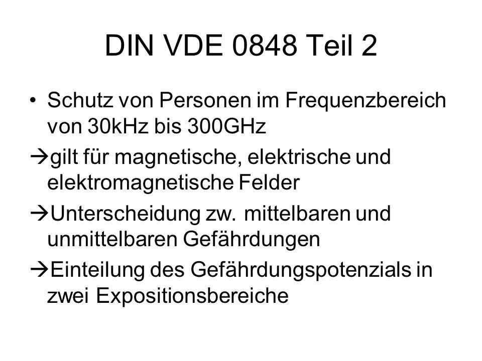 DIN VDE 0848 Teil 2 Schutz von Personen im Frequenzbereich von 30kHz bis 300GHz  gilt für magnetische, elektrische und elektromagnetische Felder  Un