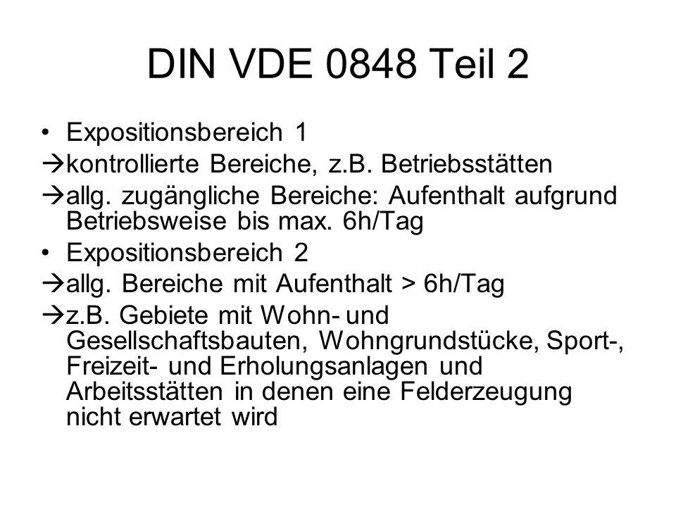 DIN VDE 0848 Teil 2 Expositionsbereich 1  kontrollierte Bereiche, z.B. Betriebsstätten  allg. zugängliche Bereiche: Aufenthalt aufgrund Betriebsweis