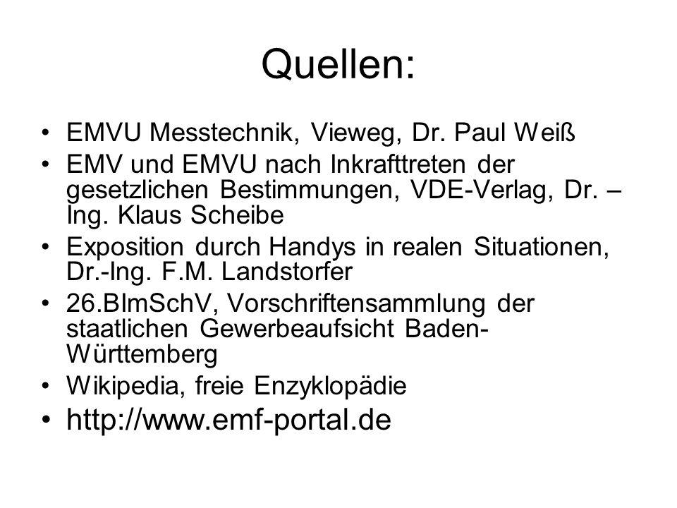 Quellen: EMVU Messtechnik, Vieweg, Dr. Paul Weiß EMV und EMVU nach Inkrafttreten der gesetzlichen Bestimmungen, VDE-Verlag, Dr. – Ing. Klaus Scheibe E